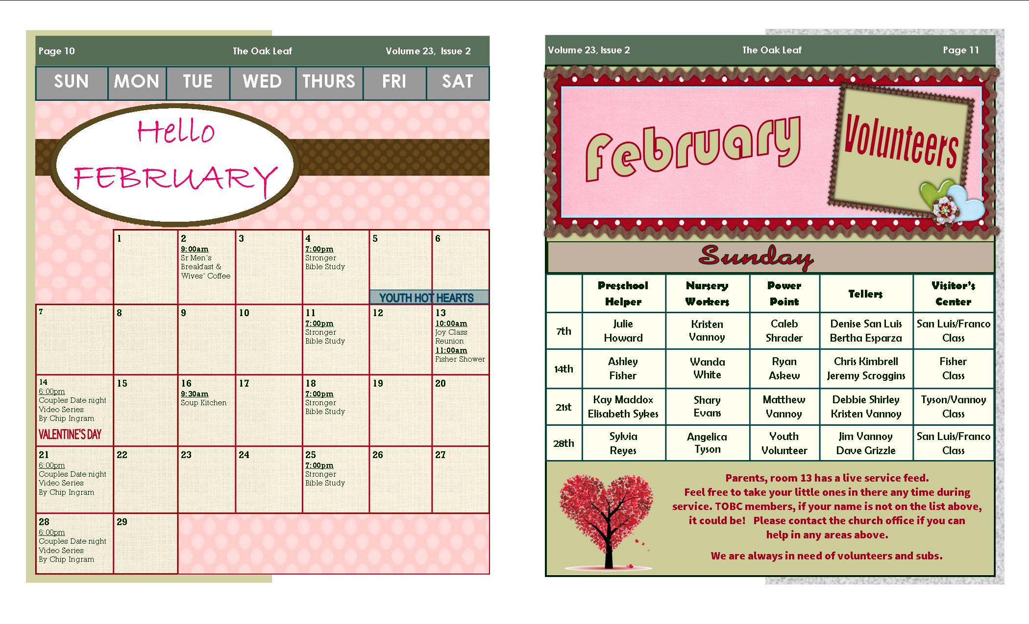 February Oak Leaf Newsletter