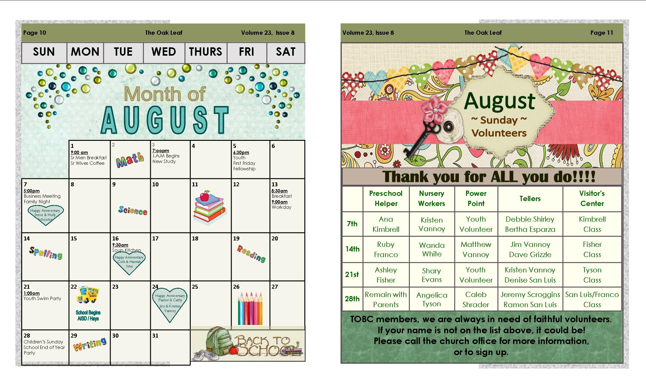 August Oak Leaf Newsletter