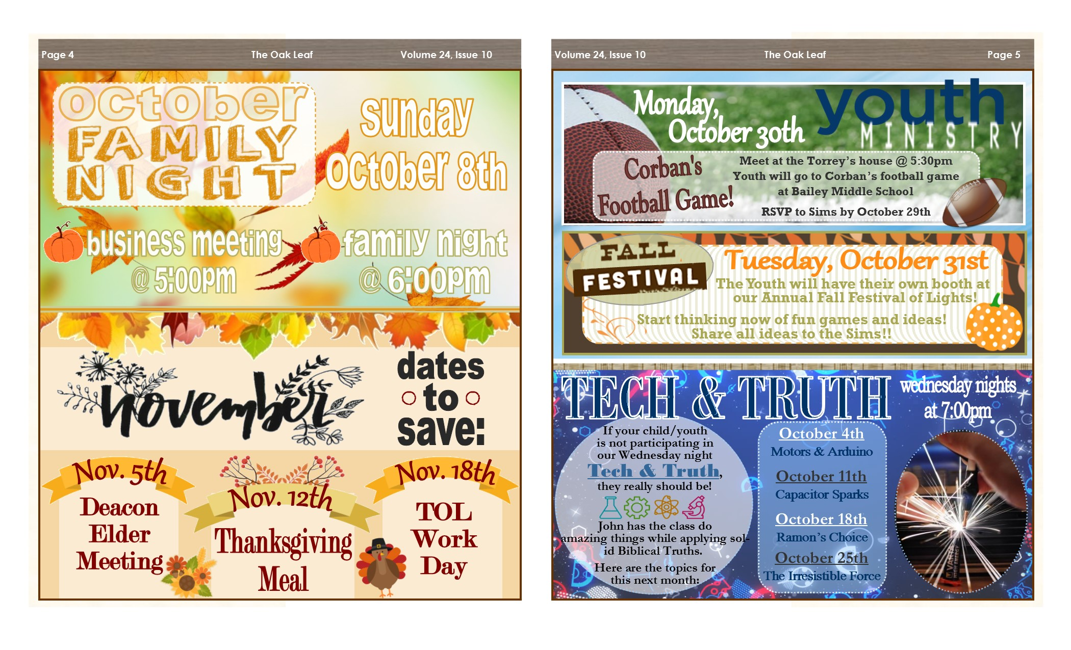 October 2017 Oak Leaf Newsletter – Texas Oaks Baptist Church